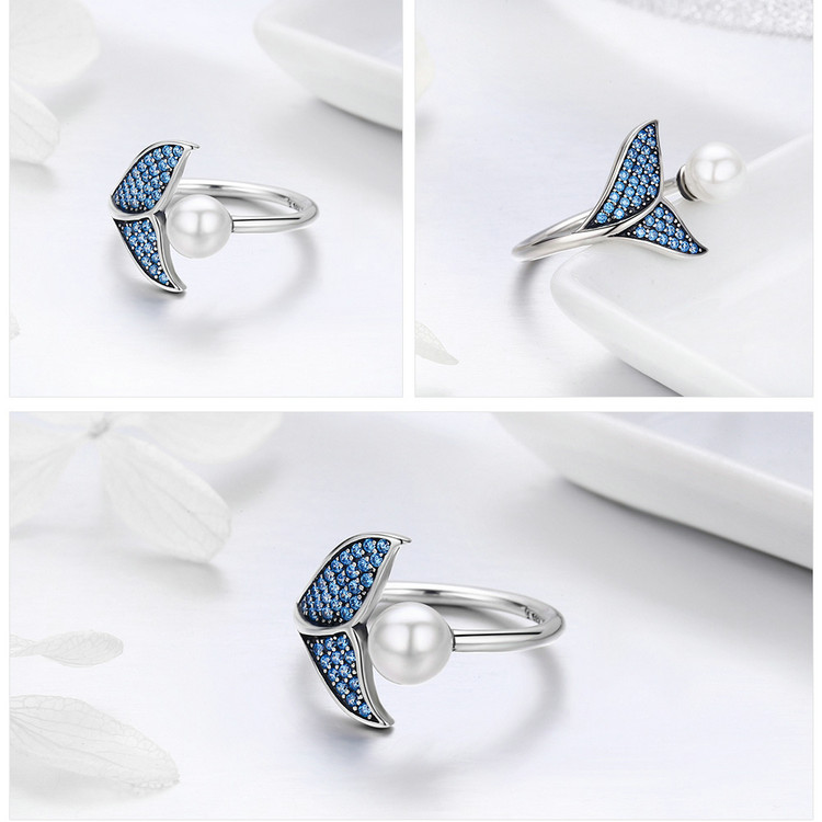 HTB1obnccf9TBuNjy0Fcq6zeiFXaR BAMOER Authentic 925 Sterling Silver Adjustable Dolphin Tail Blue CZ Finger Rings for Women Sterling Silver Jewelry Gift SCR286
