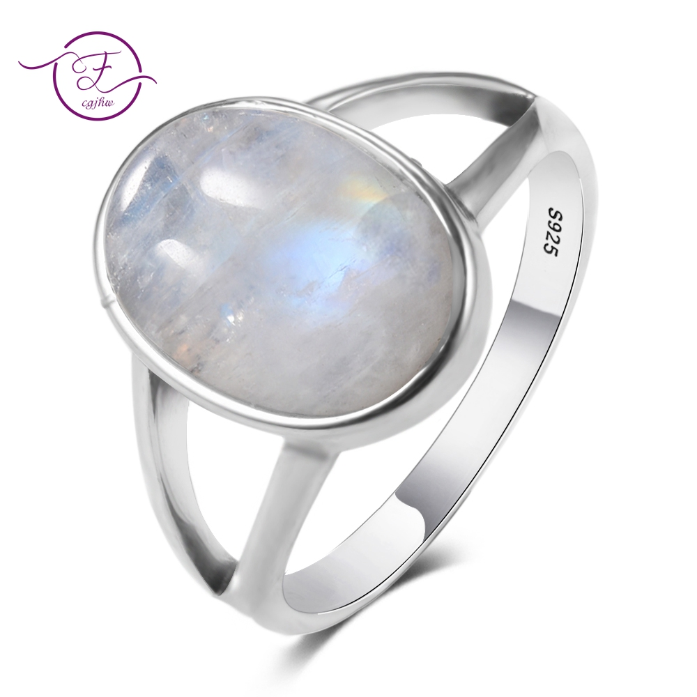 New Vintage Fine Jewelry Hollow Out 10x14MM Big Natural Rainbow Moonstone Rings 925 Sterling Silver For Women Anniversary Gifts