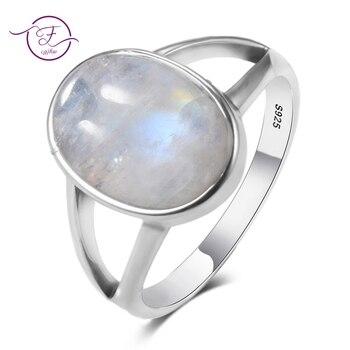 cf822367eaa4 Nueva joyería fina Vintage hueco 10x14 MM Arco Iris Natural Moonstone 925  anillos de plata esterlina