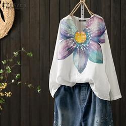 Женская рубашка с длинным рукавом ZANZEA, Свободный Повседневный Топ-туника с цветочным принтом на осень