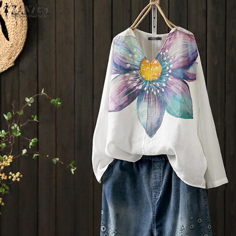 ZANZEA Women Bohemian Long Sleeve Shirt Autumn Blouse Female Floral Printed Tunic Tops Loose Casaul Blusas Robe Femininas Shirts