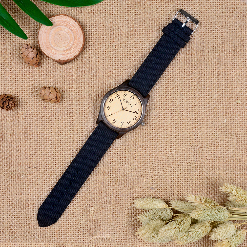 BEWELL Bamboo Wood Watch Analog Digital For Men 51