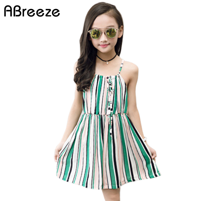 Abreeze 2018 Summer girls clothes New bohemian style kids dresses for girls 3T 12T big child beach dresses girls with suspender new summer style girls dresses fashion knee length beach dresses for girls sleeveless bohemian children sundress girls yellow 3t