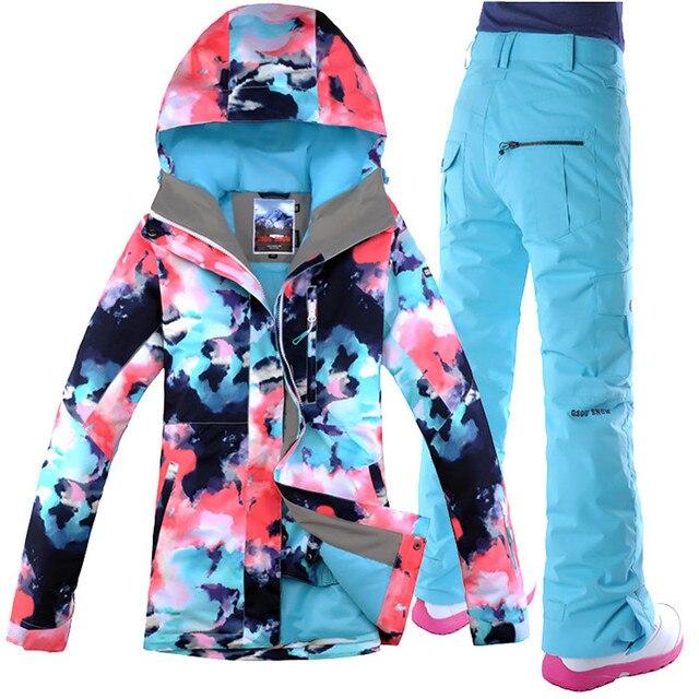 2018 Women Ski Suit Snowboard Gsou Snow Super Warm Skiing Jacket Pant  Outdoor Sport Wear Waterproof Windproof Thermal Female Set 895b776c37b1