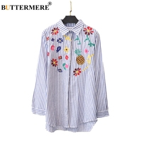 BUTTERMERE Brand Embroidery Striped Shirts Women Cotton Casual Plus Size Blouses Long Sleeve 3XL Korean Fashion