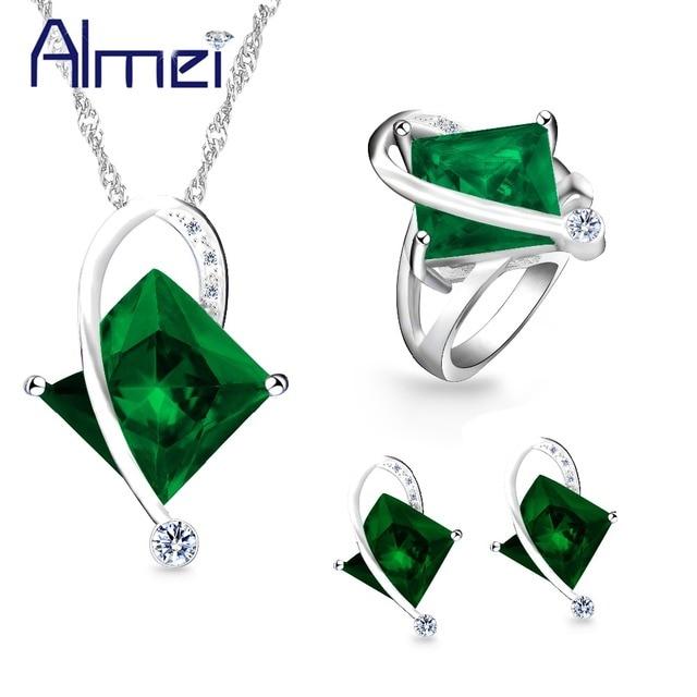 Almei Square Jewelry Sets Green Rhinestone Jewellery Bijoux Jewelry Set Women's