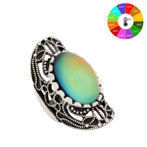 Mojo Vintage Bohemia Retro Color Change Mood Ring Emotion Feeling Changeable Ring Temperature Control Ring for Women MJ-RS034
