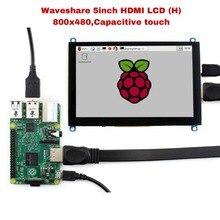 Waveshare 5 pulgadas HDMI LCD (H), 800x480, pantalla táctil capacitiva tableta LCD, interfaz HDMI, compatible con Raspberry Pi,BB negro, Banana Pi