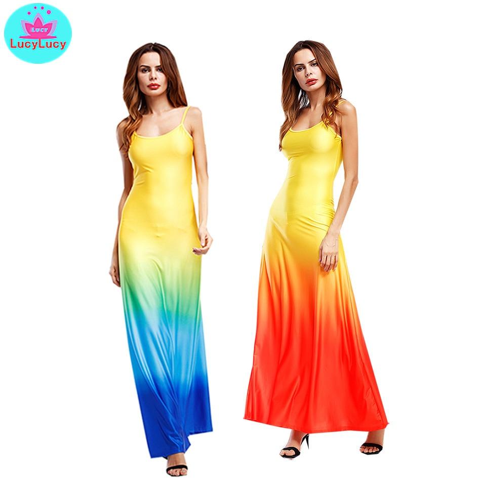 2019 лето Европа и США новая мода градиент цвета слинг длинное платье женщин большого размера ремешо