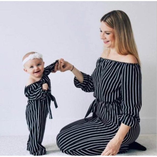 2020 Summer Striped Off-shoulder Jumpsuit Kids Girls Family Look Clothing Fashion Family Matching Sets Mother And Daughter Q003
