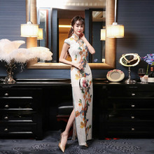 Long Traditional Chinese Dresses Qipao Original Design Korean White Cheongsam We
