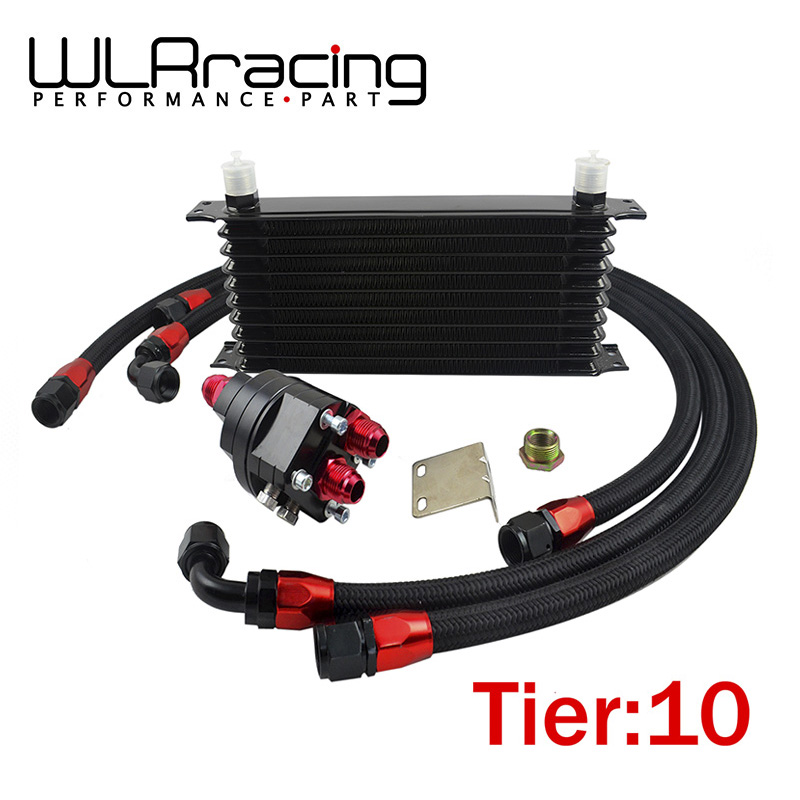 WLR RACING Universal 10 Row 10AN Aluminum Engine Transmission Oil Cooler Relocation Kit