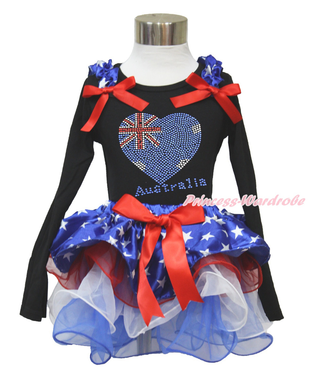 4th July Rhinestone Australia Heart Black L/S Top Patriotic Star Red White Petal Pettiskirt Girl NB-8Year MAMH232 white pettiskirt with patriotic america heart white ruffles