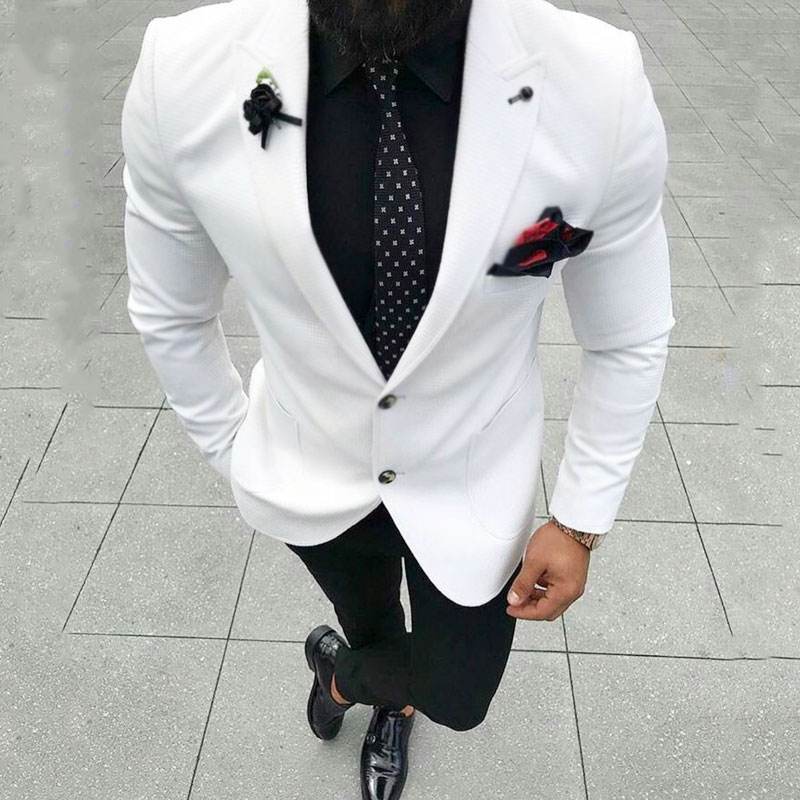Latest Coat Pant Designs White Men Suits Blazers Casual Groom Wedding Tuxedos Slim Fit Bridegroom Wear 2piece Evening Prom Party in Suits from Men 39 s Clothing