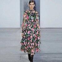 Модное винтажное платье с оборками женское Новое Стильное платье трапециевидной формы с принтом 2018 осеннее длинное платье с длинным рукаво