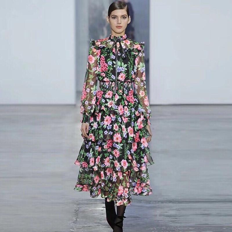 3f91d6869f Vintage 2018 As Pics Élastique Longue Robes A ligne Longues À Taille Automne  Volants Manches Mode Robe Femmes New Style Imprimer dqUPdf
