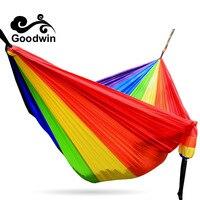 Rainbow Hammock 300 200cm 210T Nylon Parachute Cloth Loading 350kg