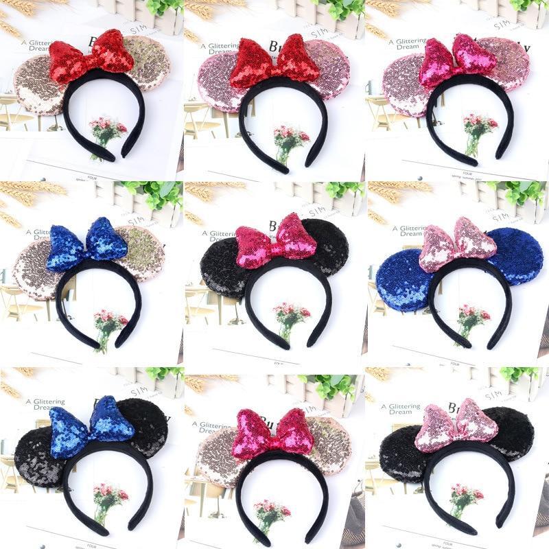 2019 Disney Mickey Minnie Ears Kids Cartoon Headwear Hair Hand Accessories Kawaii Plush Toys Birthday Gift For Girls Fashion(China)