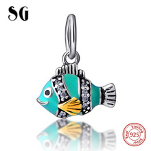 100% Real 925 Sterling Silver Charm jewelry Making for women Gifts fish Beads bangle CZ stone Original European Bracelets beads