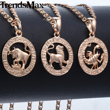 Trendsmax 12 조디악 별자리 펜던트 Necklaces 대 한 Women Men 585 Rose 금 Men Jewelry 2018 Fashion 생일 Gifts KGPM16(Hong Kong,China)