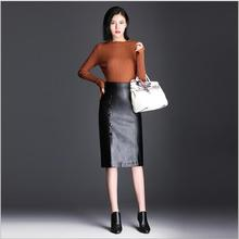 Plus size women 2017 autumn and winter new fashion solid High waist Stitching skirt casual slim elegant Pack hip skirt