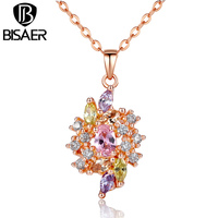 BAMOER Fashion 18K Real Gold Plated Trendy Necklaces Pendants With Colorized AAA Cubic Zircon For Women