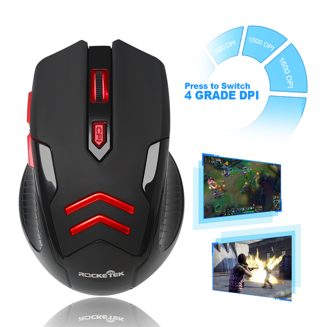 Rocketek USB Wireless Gaming Mouse 1600 DPI 6 buttons 4