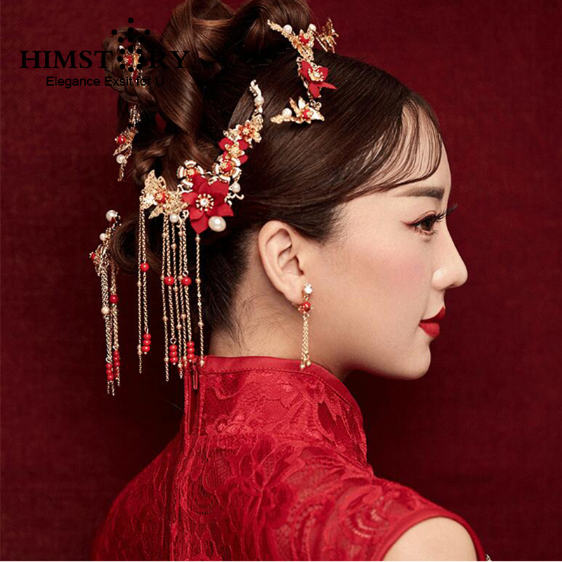 Traditional Chinese Gold Flower Red Pearl Hairpins Hair Stick Wedding Bridal Coronet Hair Jewelry Hair Accessories