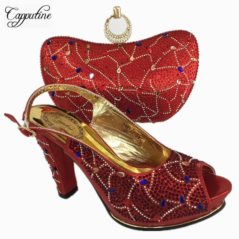 Capputine New Arrival Design Italian Shoes with Matching Bags Set African Fashion Pumps Shoes And Bag Set For Party BL755C cd158 1 free shipping hot sale fashion design shoes and matching bag with glitter item in black