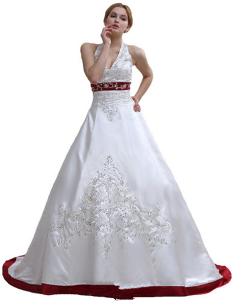 Hot Sale Classic White And Red Wedding Dresses Halter Neck