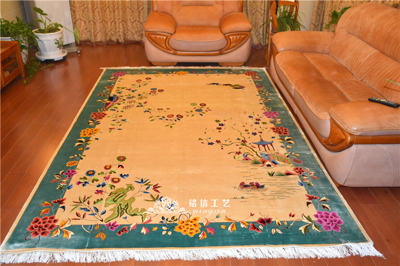 6.56 'x9. 84' tapis chinois traditionnel en soie noué à la main tapis de salon