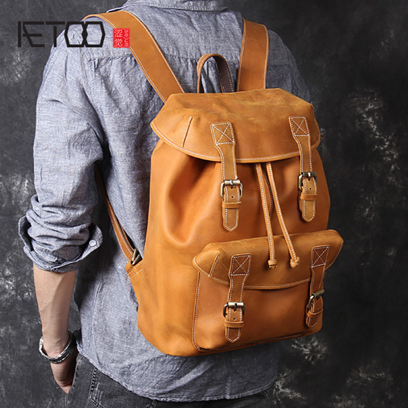 AETOO New retro Large capacity head cowhide shoulder bag male leather backpack handmade mad horse leather