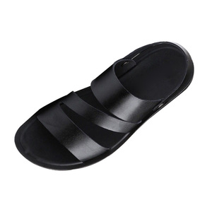 Image 5 - 2019 Genuine Leather Sandals Men Summer Shoes New Fashion Mens Beach Sandals Cow Leather Footwear Male Black Shoes A1454
