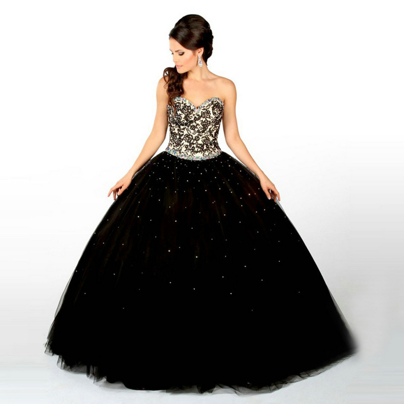Cheap And Hot 2017 Lace Black Quinceanera Dresses With
