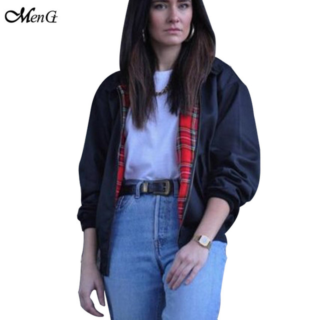 95f41d1cab3 Vintage Classical Bomber Jacket Women 2015 New Black Red Plaid Zipper Basic Coat  Outwear Casual Long Sleeve Bike Outfit Tops