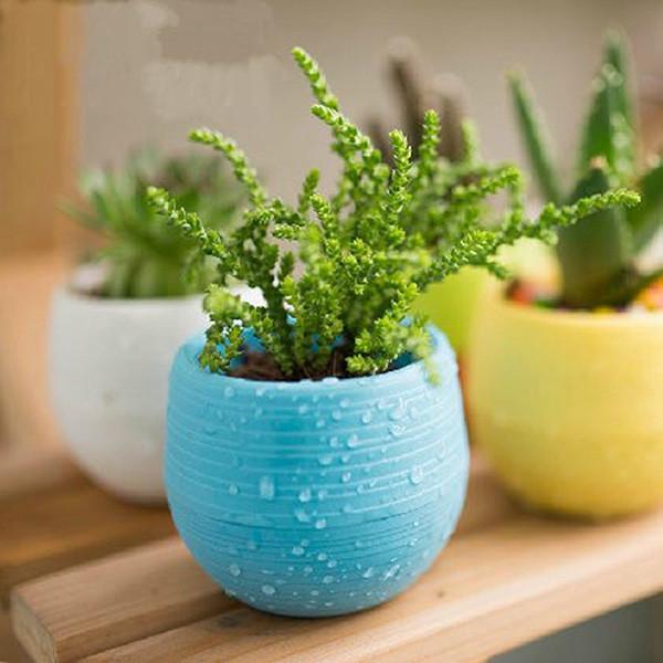 Mini Colourful 1pcs 7*6.5CM Cute Round Home Garden Office Decor Planter Plastic Plant Flower Pots Garden Supplies