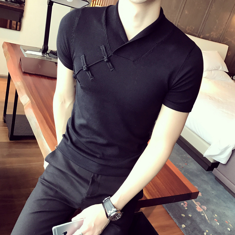2018 Summer Chinese Style T shirts Mens Short Sleeves Sweater Vintage Sweaters T shirts Slim Fit Shawl Collar T Shirts Japanese