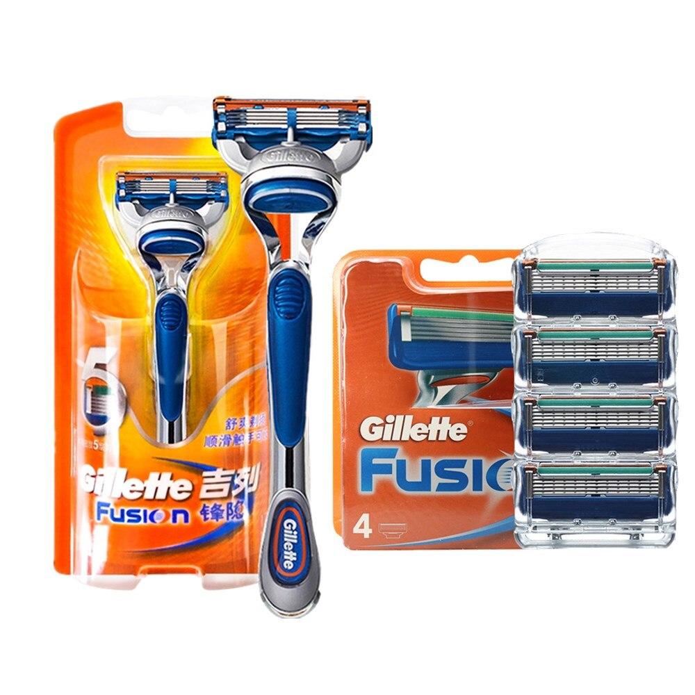 Genuine Original Gillette Fusion 5 Layer Razor Blades For Men Brand Razor For Face Care (1pcs Holder + 5pcs Razor Blades)
