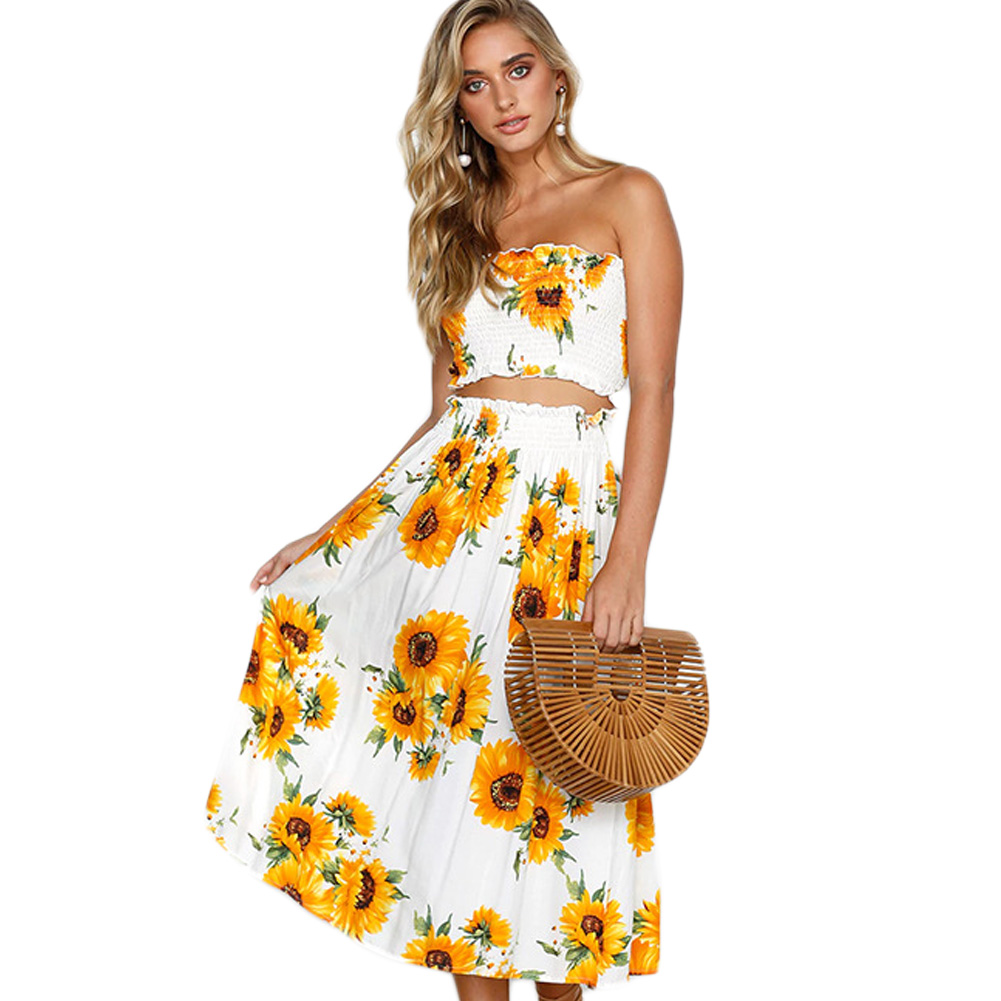 2018 fashion print lemon sunflower summer two piece set