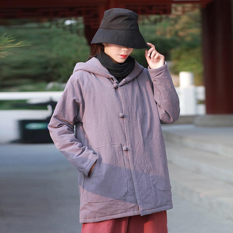Johnature 2019 Winter New Cotton Linen Women Hooded Parkas Pockets Vintage Button Coats Thick Warm Women