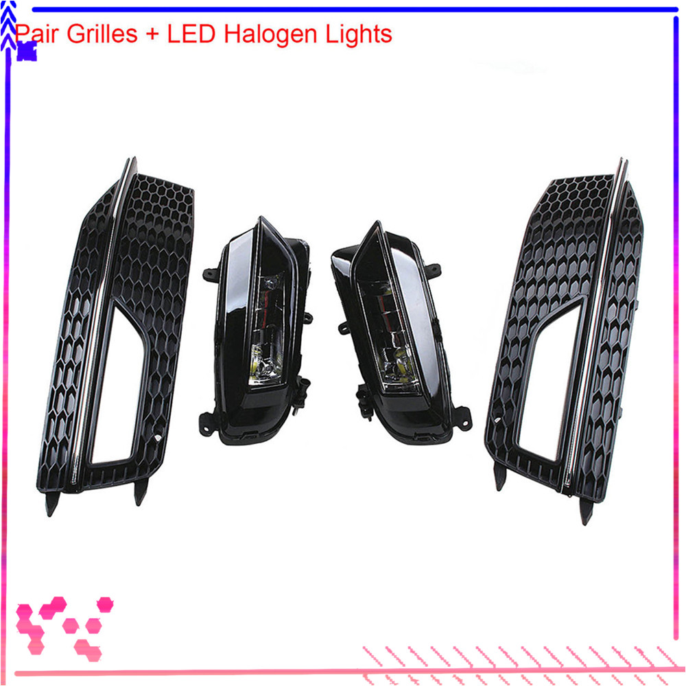 Front Left Right Bumper Lower LED Fog Light Honeycomb Grille For AUDI A4 S line S4