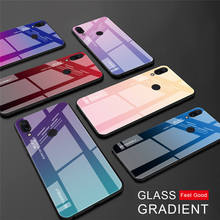 For Redmi Note 7 5 Global 6 Pro Case Gradient Plastic TPU Silicone Frame + Tempered Glass 6A Colorful Cover