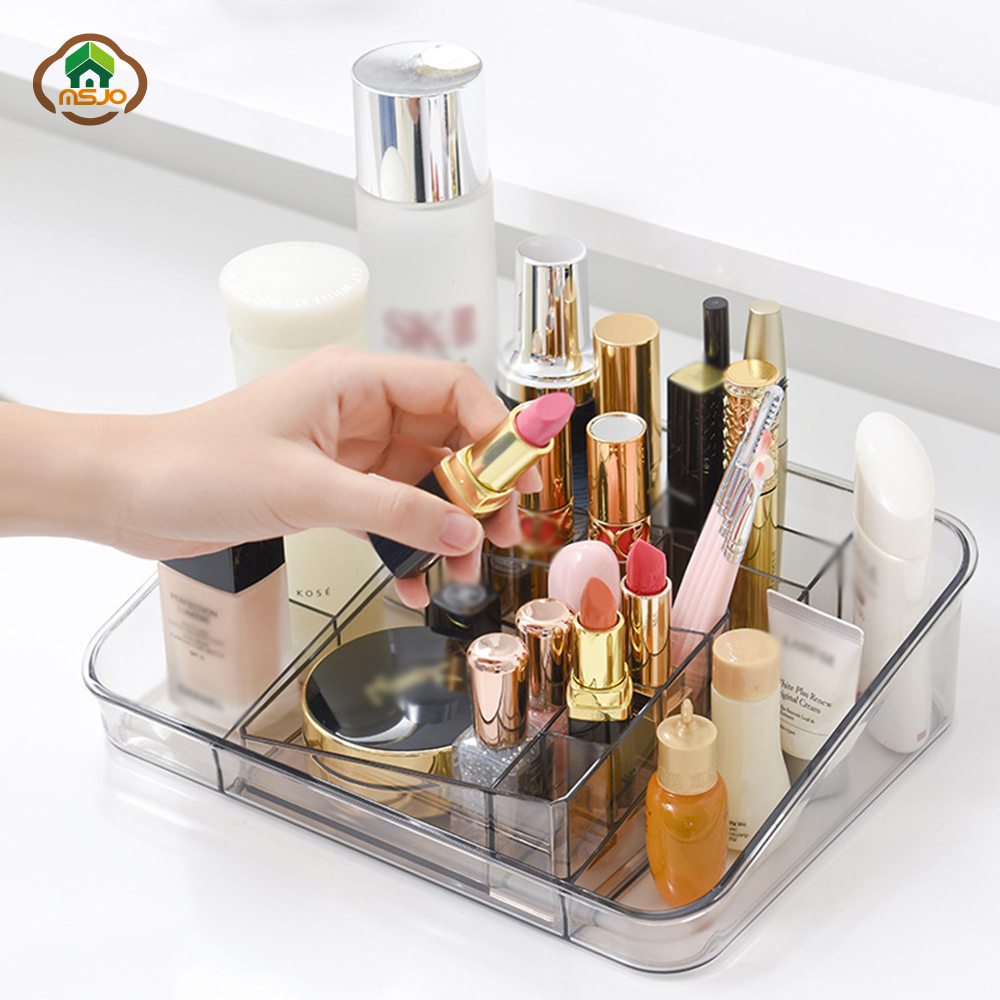 Msjo Makeup Box Organizer Plastic Cosmetics For Organizer Jewelry Nail Polish Lipstick Storage Box Home Desktop Makeup Organizer