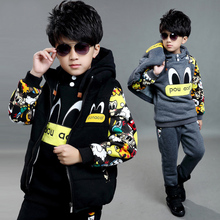 Fashion Childrens Boys Winter suit children autumn winter 6 cartoon 7 three sets of 8 sweater with 9 cashmere 5-13 years