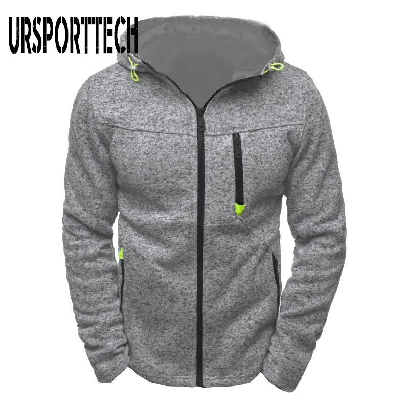 URSPORTTECH Zipper Hoodies Men Spring Autumn Thin Long Sleeve Hooded Sweatshirt Man Fashion Casual Jacquard Hoodie Man Clothes