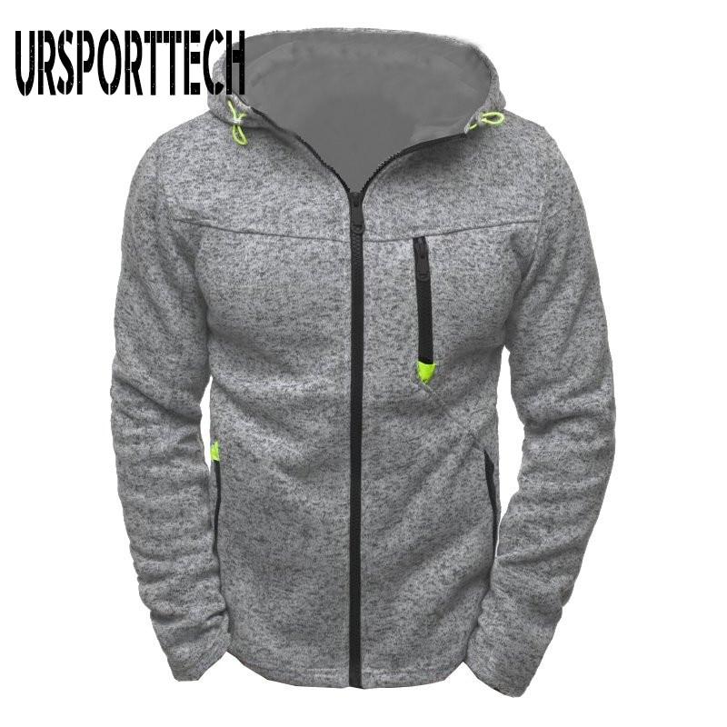 URSPORTTECH Zipper Hoodies Men Spring Autumn Thin Long Sleeve Hooded Sweatshirt Man Fashion Casual Jacquard Hoodie Man Clothes