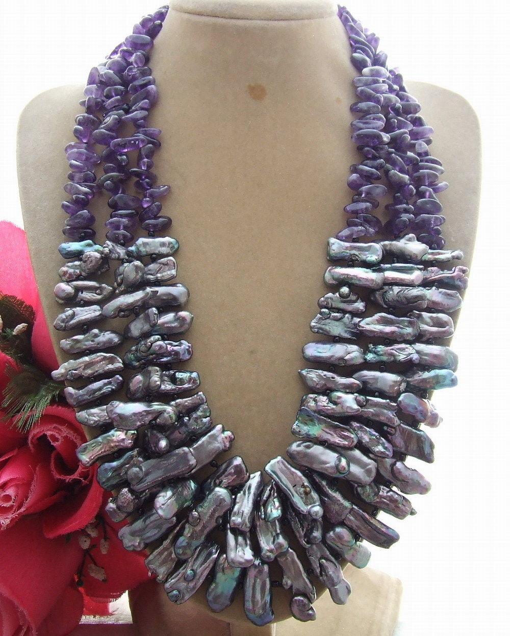 3 Strds noir Biwa perle et collier fantaisie> Dongguan fille magasin livraison gratuite