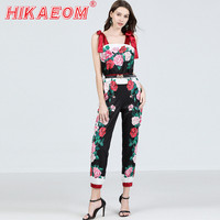 2019 Summer Strapless Straps Rose Print Jumpsuits Woman High Waist Full Size Contrast Color Floral Pants Bodysuits With Belt
