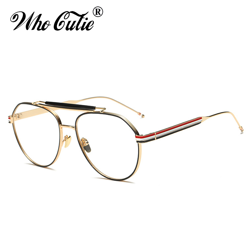 8133ce4046518 WHO CUTIE pilot Clear Optical Lens Fake Glasses 2018 Men Women Eyewear  Retro Gold Metal Frame