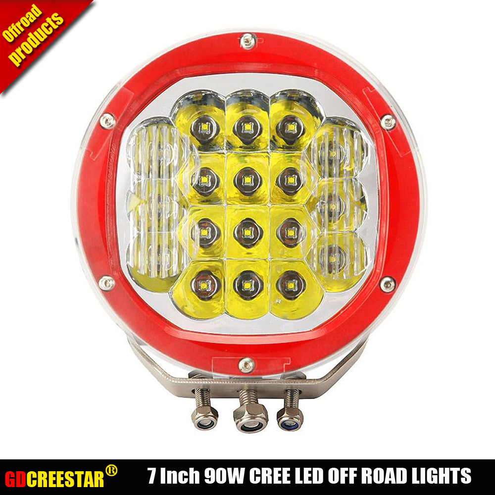 Round 90W LED Off road Lights For Tractor Truck SUV CAR 12V 24V IP67 Red Black LED Drive light High Power 90W LED Fog Light x1pc lyc 3 5 4 led fog light 24 volt hid lights fog light for honda fit 12v led car light ip 67 1800lm korea high power led chip